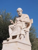 Monument of Plato seated. Plato was a famous Greek philosopher from Athens who lived circa. 427-347 BC.