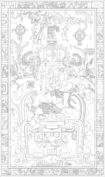 A close up of text of the Palenque Sarcophagus lid of King Pakal on a white background