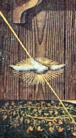 Enlargement of another part of Crivelli's Annunication reveals another telling detail that dissociates the painting from extraterrestrials. If one follows the beam of light from the angel cloud down to Mary, it passes through a dove before touching the Virgin. The dove is a biblical symbol of the Holy Spirit.
